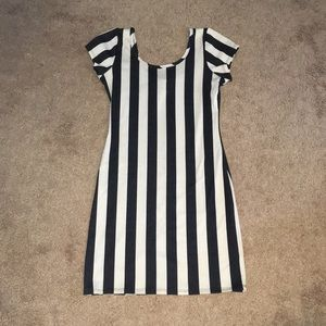 Tan and Black Striped Dress